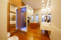 Interior modern bathroom  Two washbasin  Hydro massage bath and Shower
